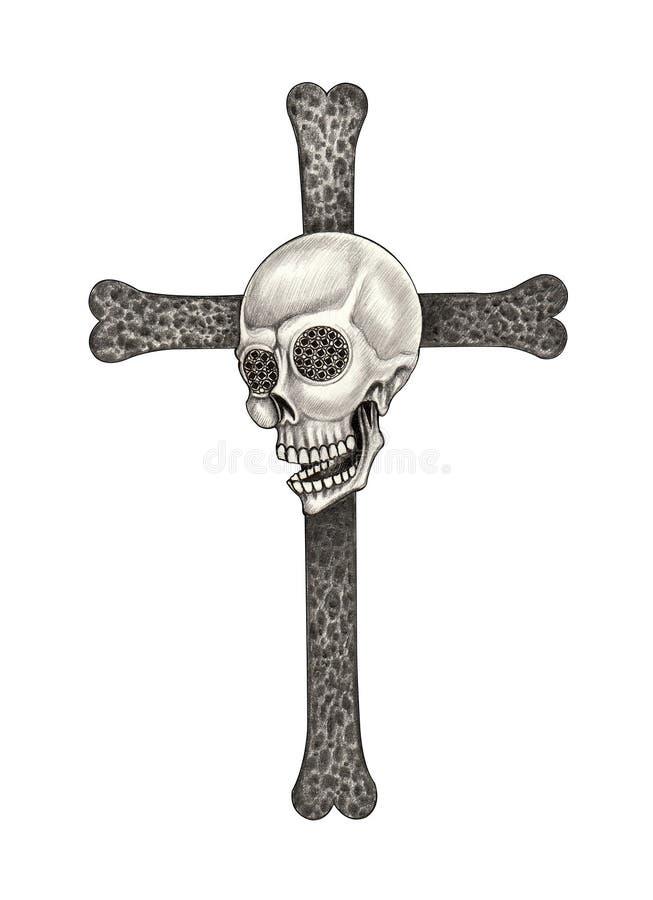 Tatuagem da cruz do crânio da arte ilustração stock