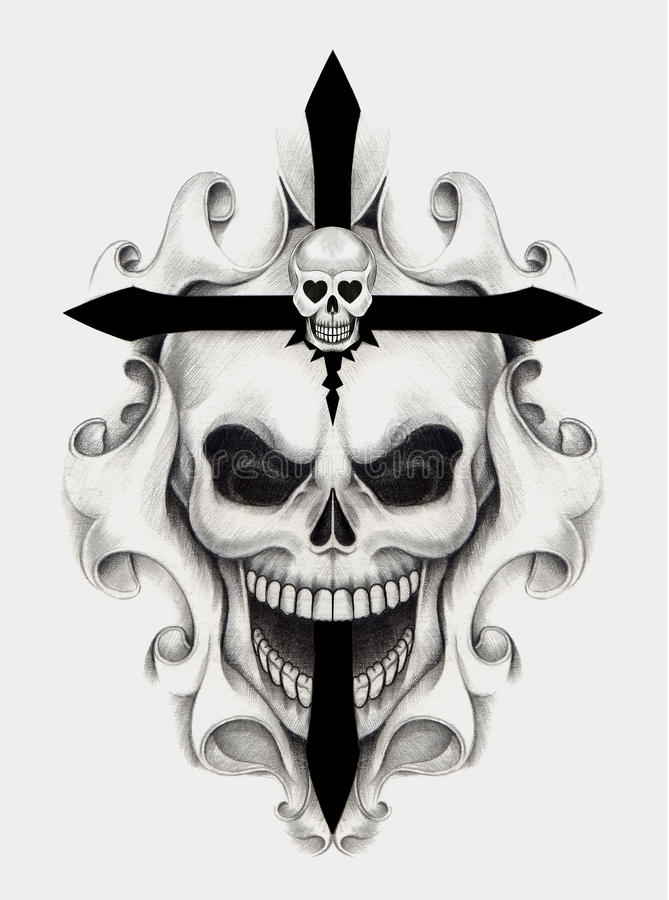 Tatuagem da cruz do crânio da arte ilustração royalty free