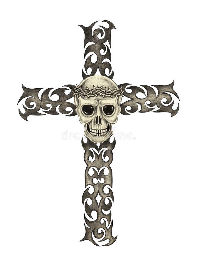 Tatuagem da cruz do crânio da arte ilustração do vetor