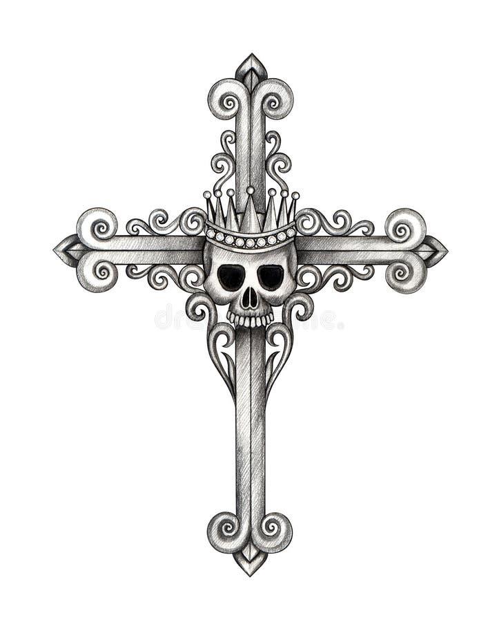 Tatuagem da cruz do crânio do rei da arte ilustração stock