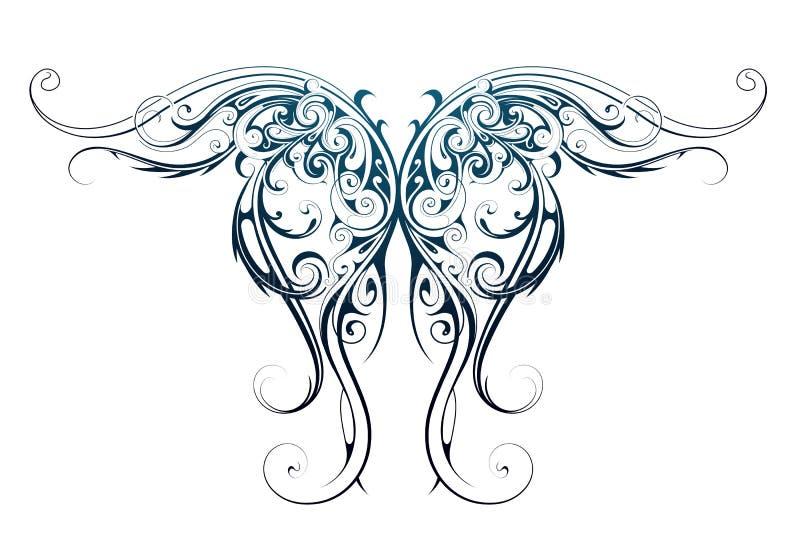 Tatuagem da forma da asa ilustração royalty free