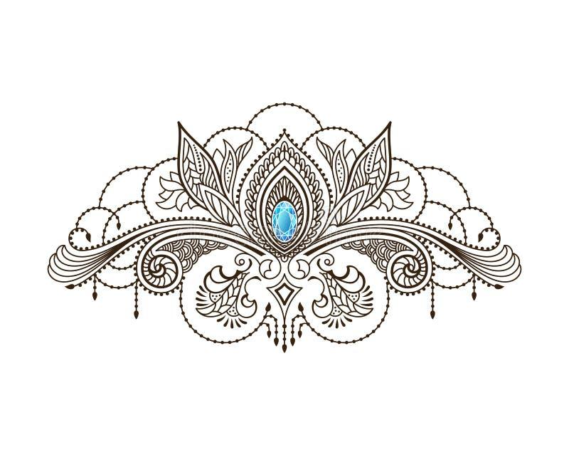 Tatuagem da hena do vetor sob o peito de uma menina Teste padrão oriental floral de Mehndi ilustração stock