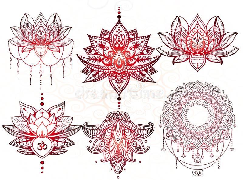 Tatuagem da mandala de Seth, Lotus ilustração do vetor