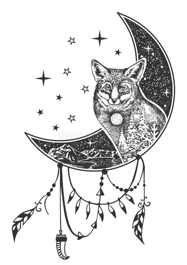Tatuagem da raposa do boho do vetor ou projeto da cópia do t-shirt ilustração royalty free
