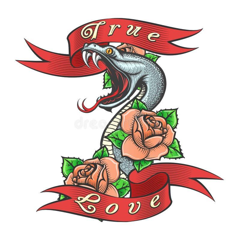 Tatuagem da serpente em flores e em rotular de Rosa o amor verdadeiro ilustração stock