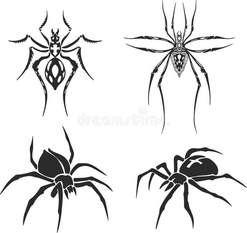 Tatuagem das aranhas ilustração stock