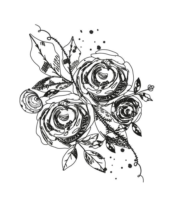 Tatuagem das rosas Flores pretas abstratas das horas de verão Naturetheme Flor cor-de-rosa da silhueta do sumário Vetor abstrato  ilustração stock