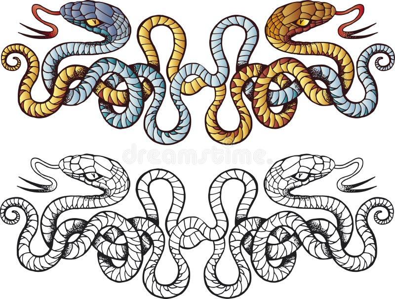 Tatuagem das serpentes ilustração stock