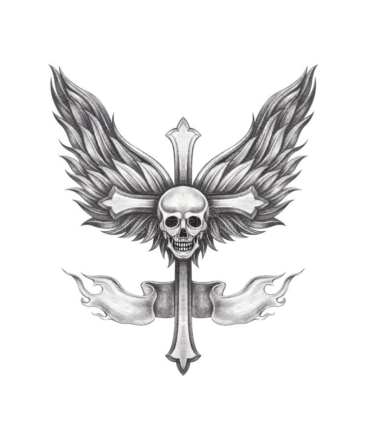 Tatuagem de Art Wings Angel Skull Cross ilustração royalty free