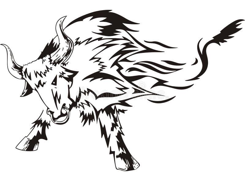 Tatuagem de Bull ilustração do vetor