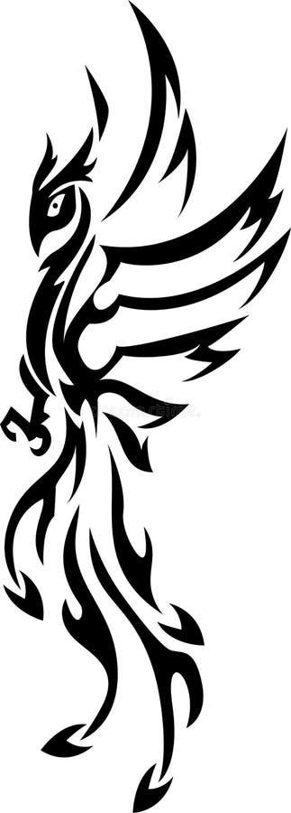 Tatuagem de Phoenix tribal ilustração royalty free