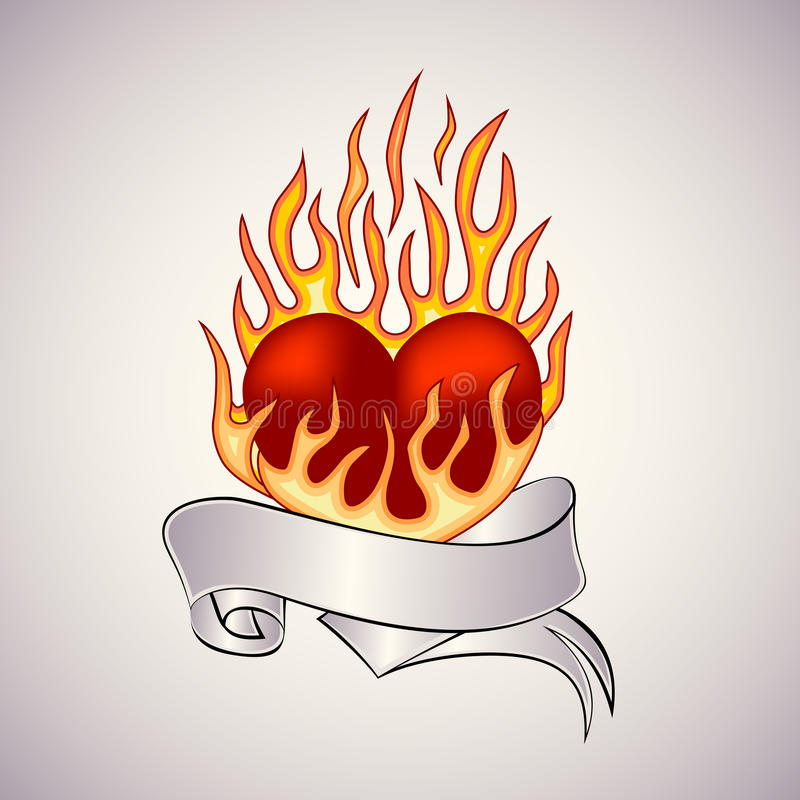 Tatuagem de um coração flamejante ilustração royalty free