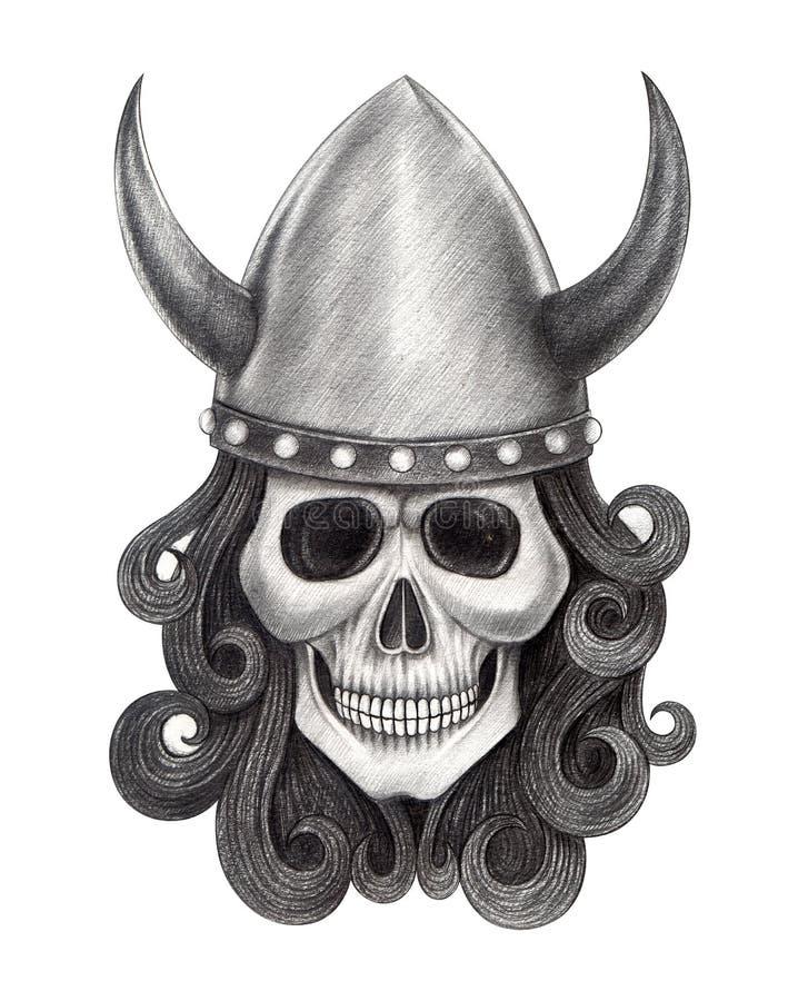 Tatuagem de viquingues do crânio da arte ilustração do vetor