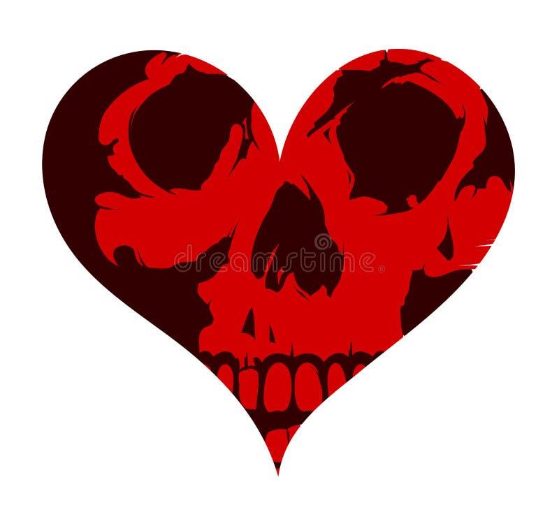 Tatuagem do conceito da forma do coração com o crânio ilustração royalty free