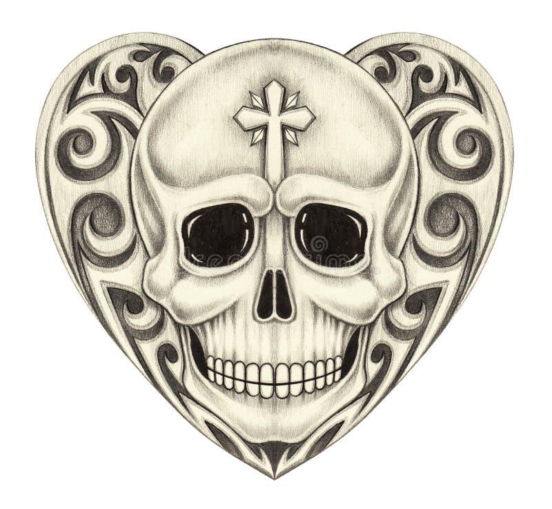 Tatuagem do coração do crânio da arte ilustração do vetor