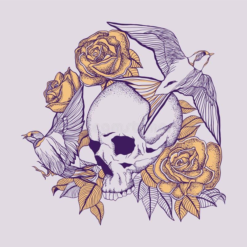 Tatuagem do crânio com rosas e as andorinhas de flutuação ilustração royalty free