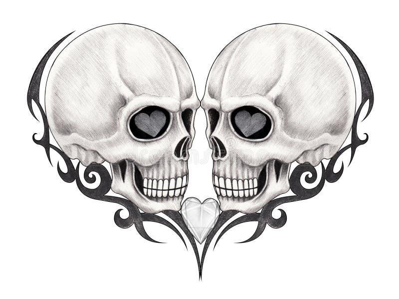 Tatuagem do crânio da arte ilustração royalty free