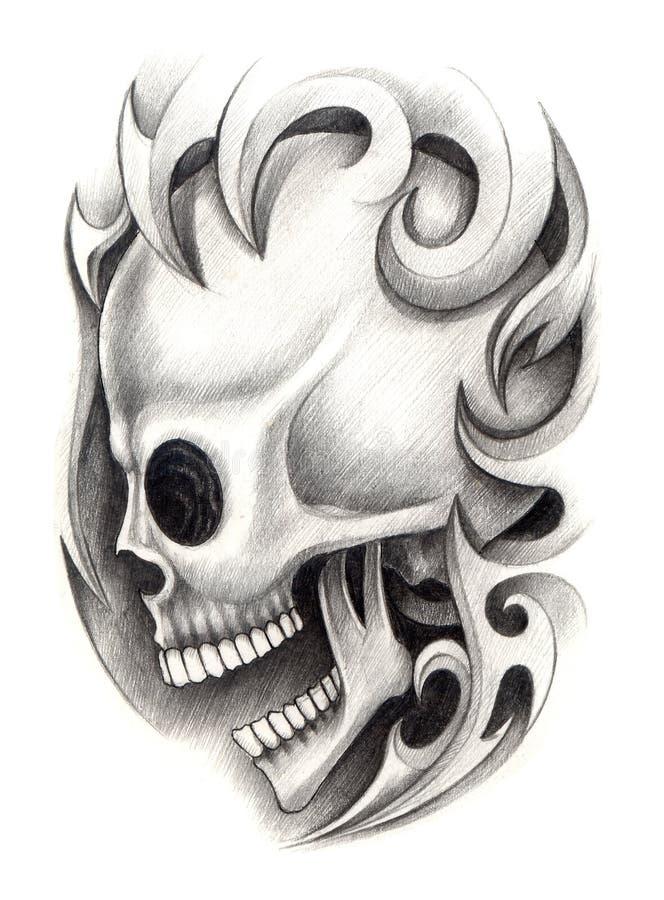 Tatuagem do crânio da arte ilustração do vetor