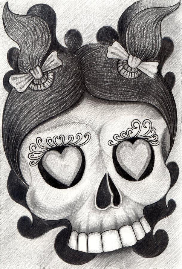 Tatuagem do crânio da menina da arte ilustração do vetor