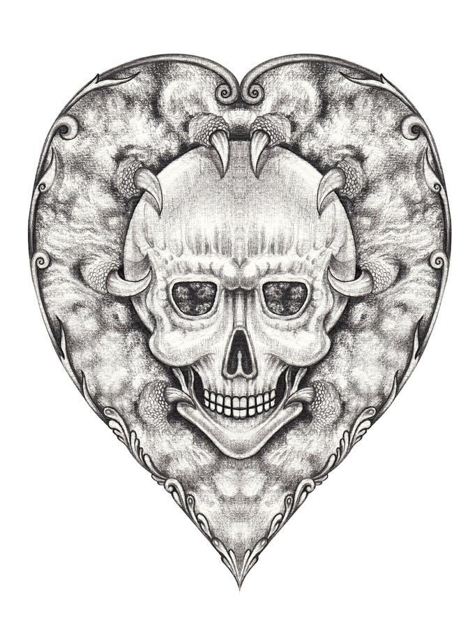 Tatuagem do crânio da mistura do coração do vintage de Art Surreal ilustração royalty free