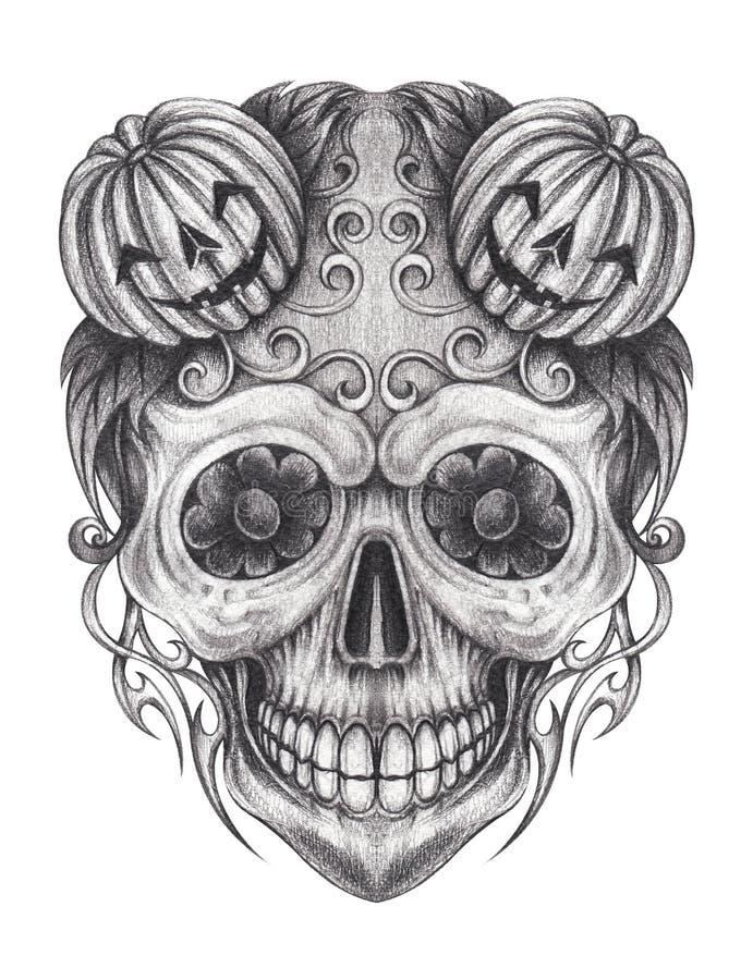 Tatuagem do crânio da mistura de Art Surreal Punpkin ilustração stock