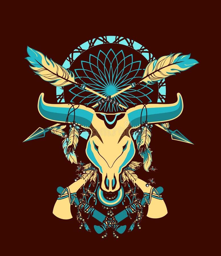 Tatuagem do crânio de Bull ilustração do vetor