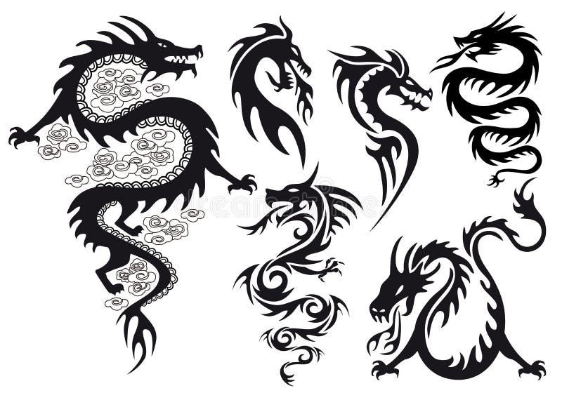 Tatuagem do dragão, vetor ilustração stock