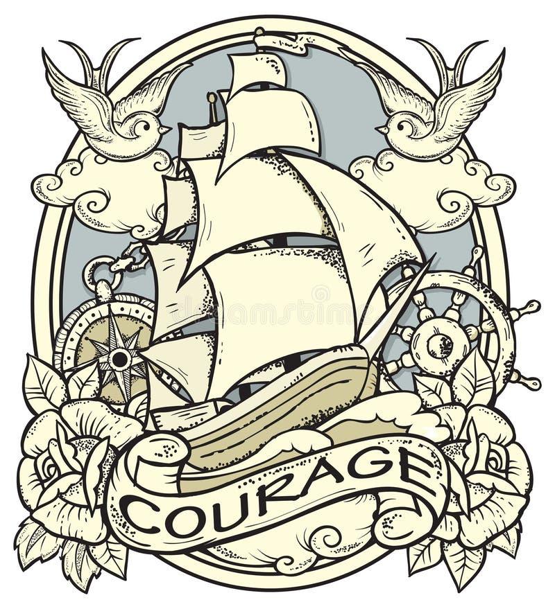 Tatuagem do navio ilustração royalty free