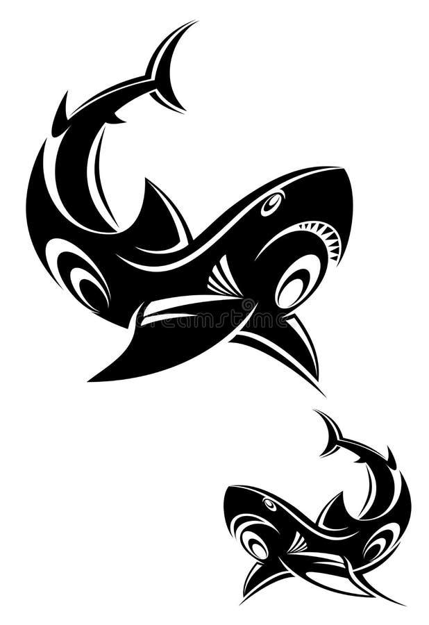 Tatuagem do tubarão ilustração stock