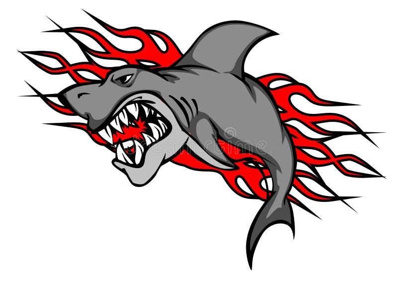 Tatuagem do tubarão do perigo ilustração stock