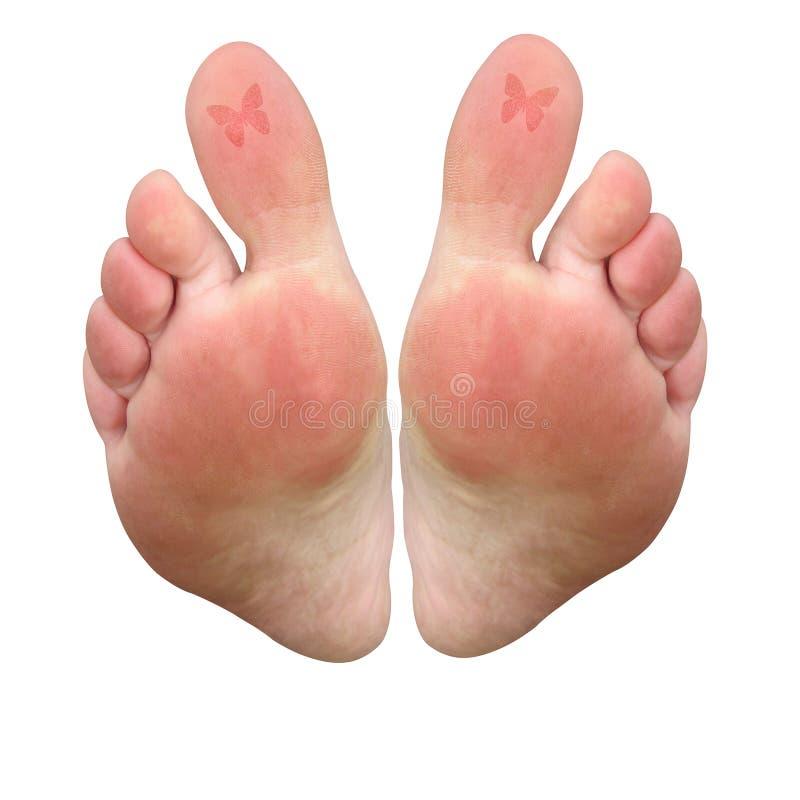 Tatuagem dos dedos do pé da borboleta ilustração stock