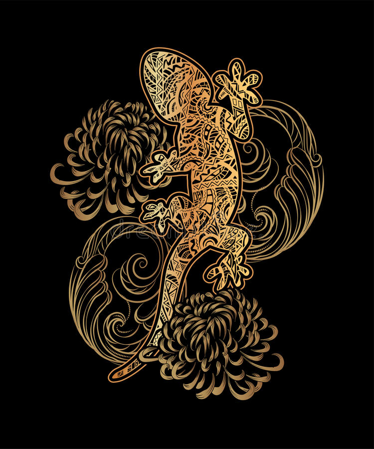 tatuagem dourada ilustração stock