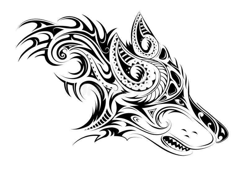 Tatuagem elegante do lobo ilustração do vetor