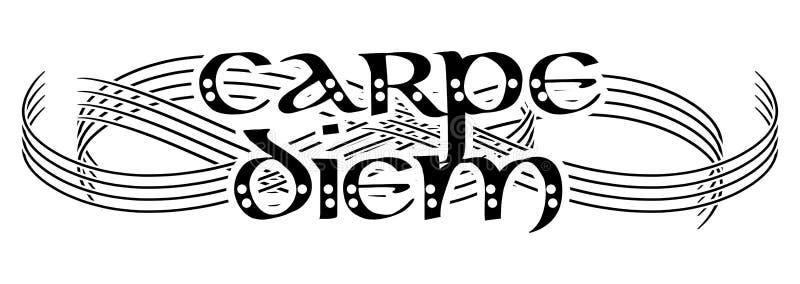 Tatuagem elegante em preto e branco com palavras carpe diem, isolado ilustração royalty free