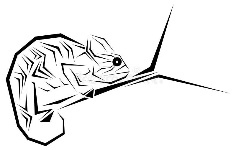 Tatuagem estilizado do camaleão em preto e branco isolada ilustração royalty free