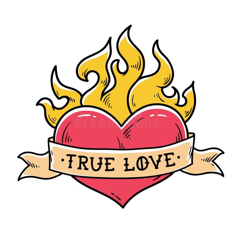 Tatuagem flamejante do coração com fita Amor verdadeiro Coração que queima-se no fogo Envoltórios da fita em torno do coração ver ilustração stock