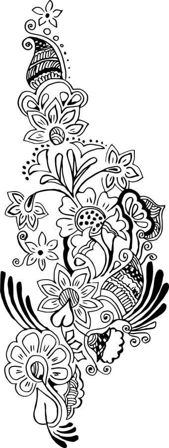 Tatuagem floral do teste padrão do vetor ilustração do vetor