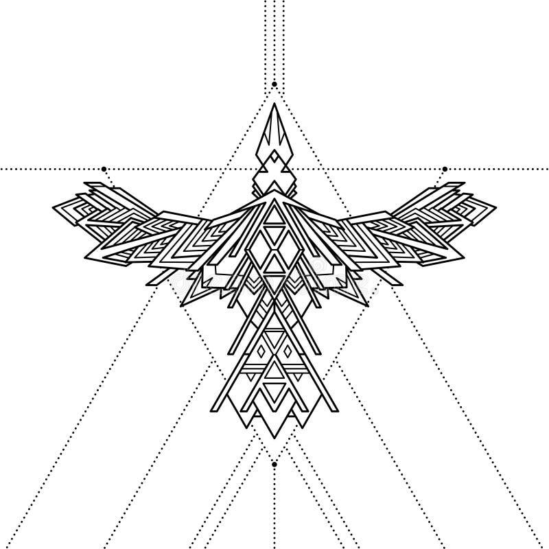 Tatuagem geométrica tribal do corvo, ilustração do vetor ilustração royalty free
