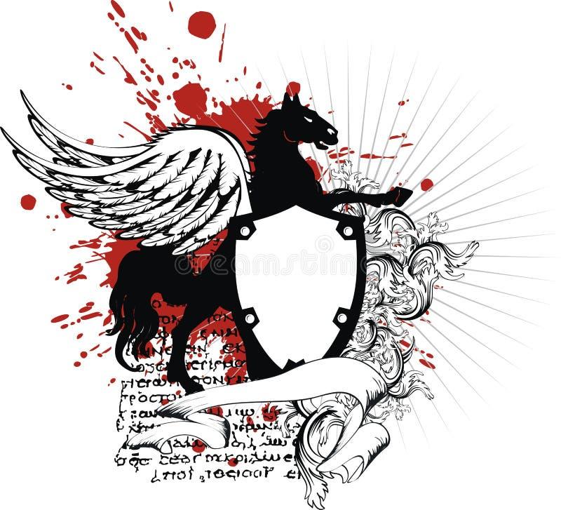 Tatuagem heráldica da brasão da crista de pegasus ilustração royalty free
