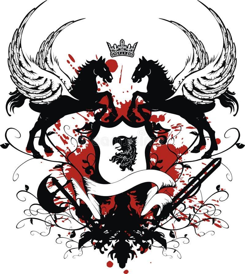 Tatuagem heráldica da brasão da crista ilustração do vetor