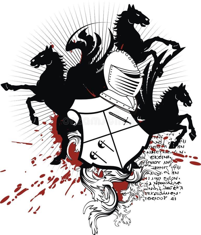 Tatuagem heráldica do preto da brasão da crista de pegasus ilustração royalty free