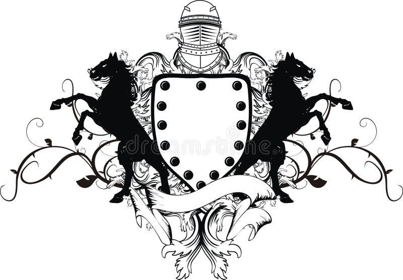Tatuagem heráldica do protetor da brasão da crista do cavalo ilustração royalty free