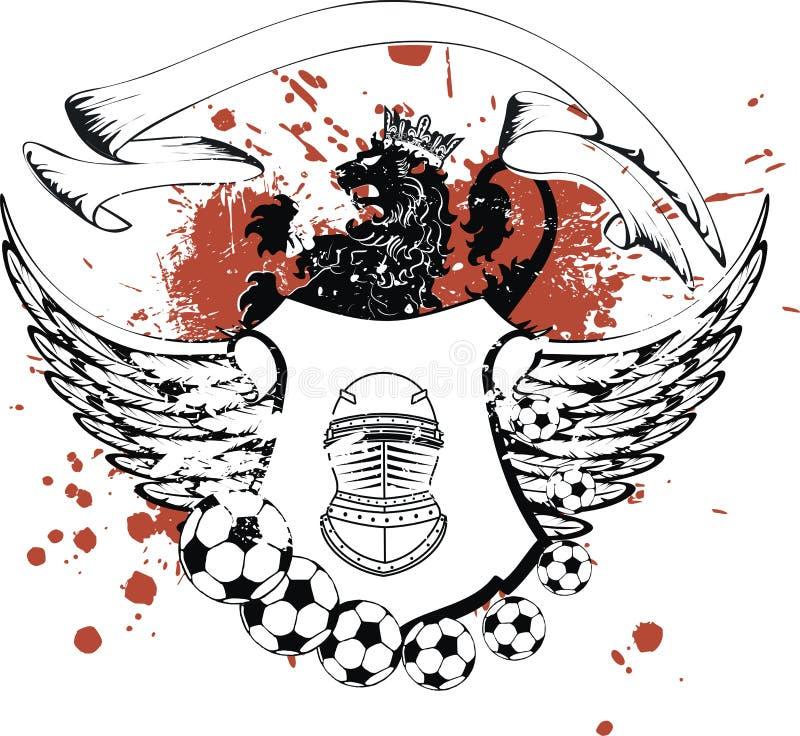 Tatuagem heráldica voada da brasão do emblema da crista do futebol ilustração do vetor
