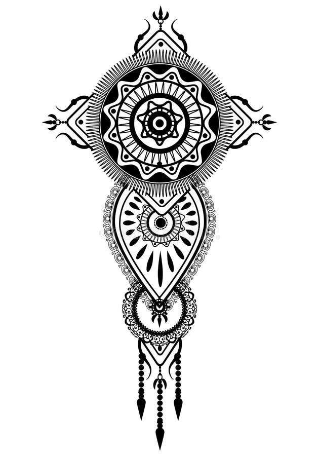 tatuagem ideal do ornamento do traditonal do coletor ilustração royalty free