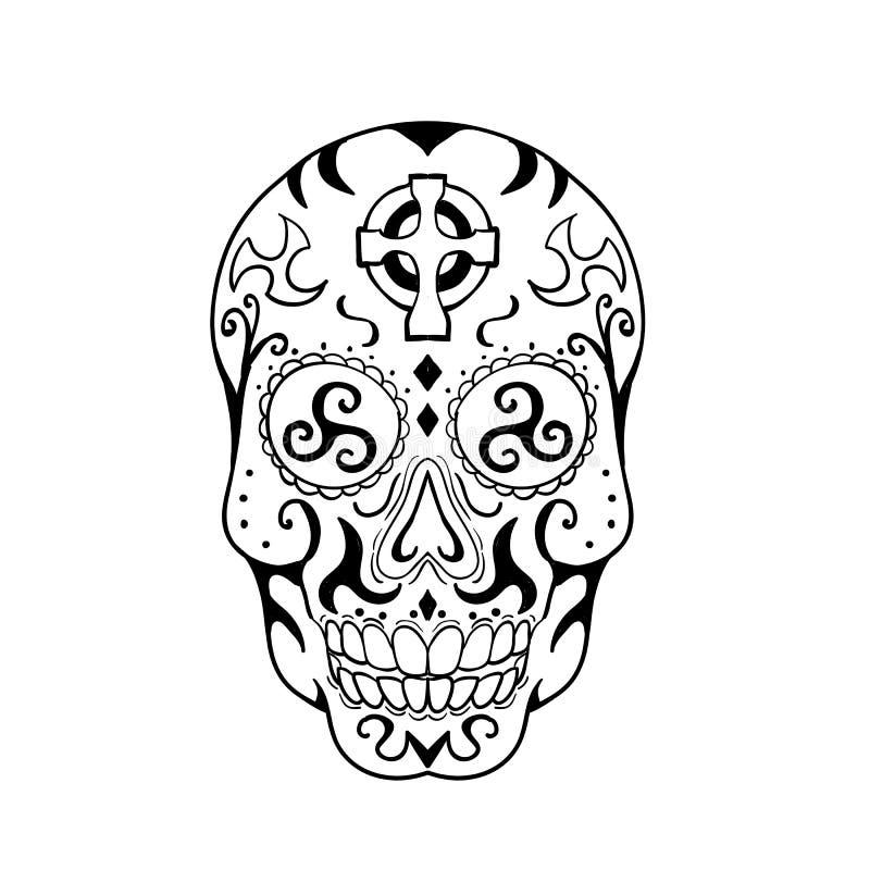 Tatuagem mexicana da cruz celta de Triskele do crânio ilustração do vetor