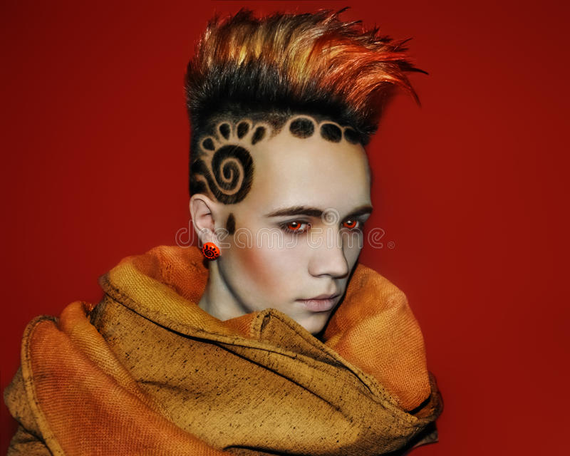 Tatuagem modelo de Space Sun Hair fotografia de stock
