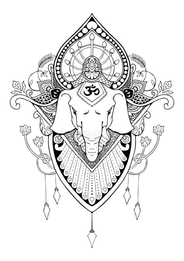 Tatuagem oriental do desenho da mandala de Ganesha ilustração stock