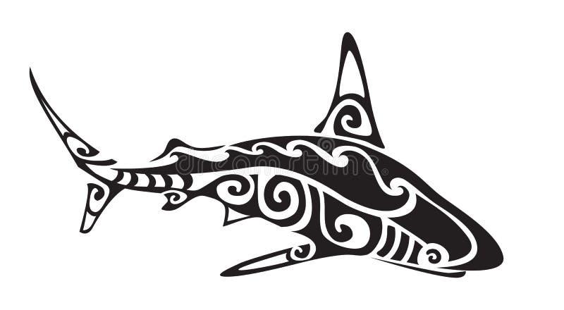 Tatuagem polinésia do tubarão, vetor ilustração stock