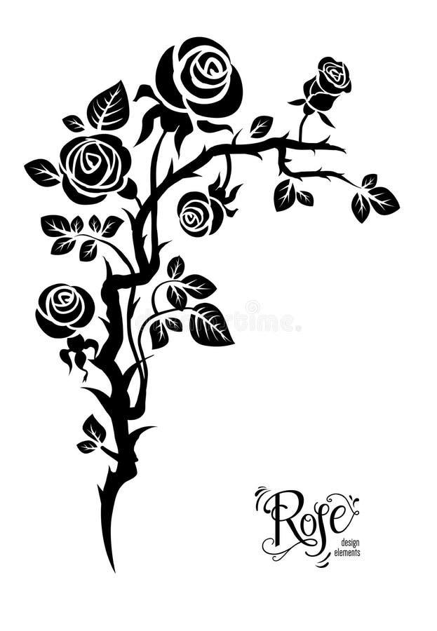 Tatuagem preta da flor ilustração do vetor