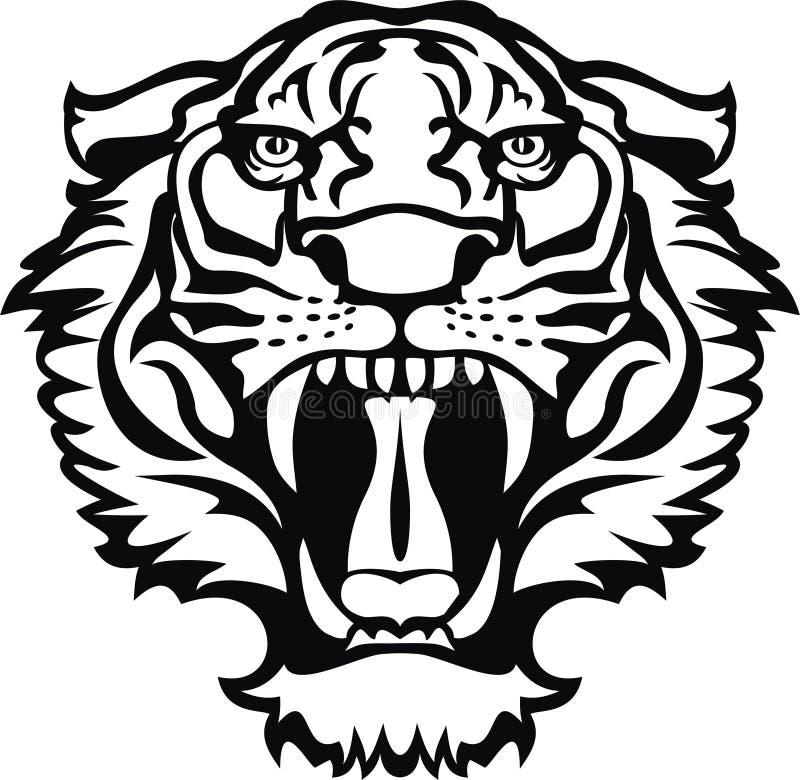 Tatuagem preto/branco do tigre ilustração royalty free